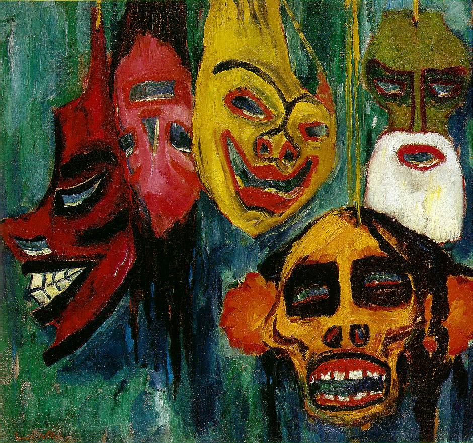 Emil Nolde: natura morta con maschere. L'immagine rappresenta, in modo ironico e tagliente, la musica di regime