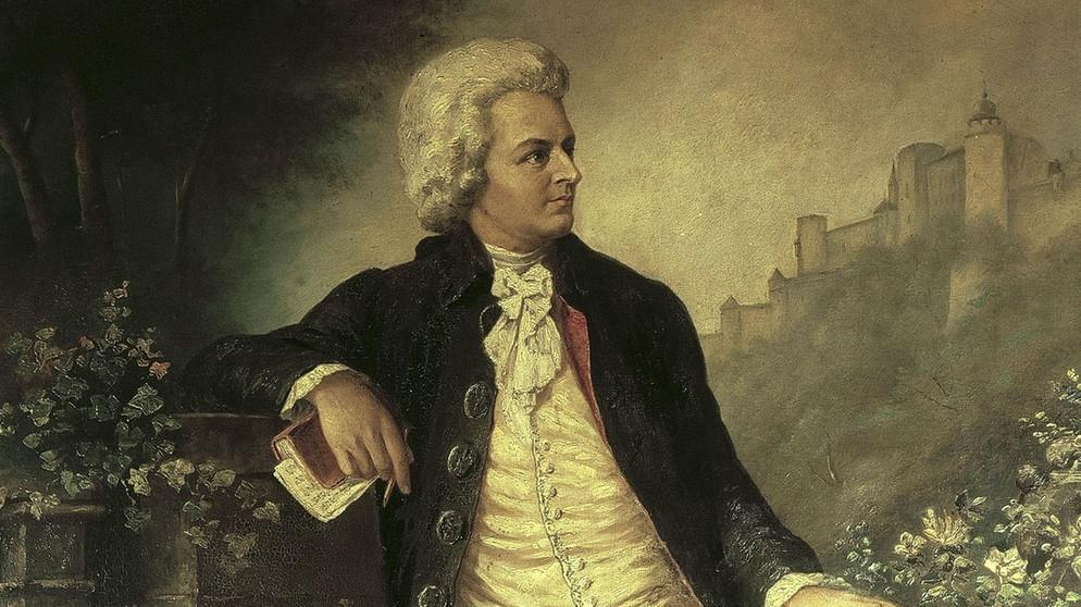 Mozart il patriota: Quadro d'epoca raffigurante Mozart